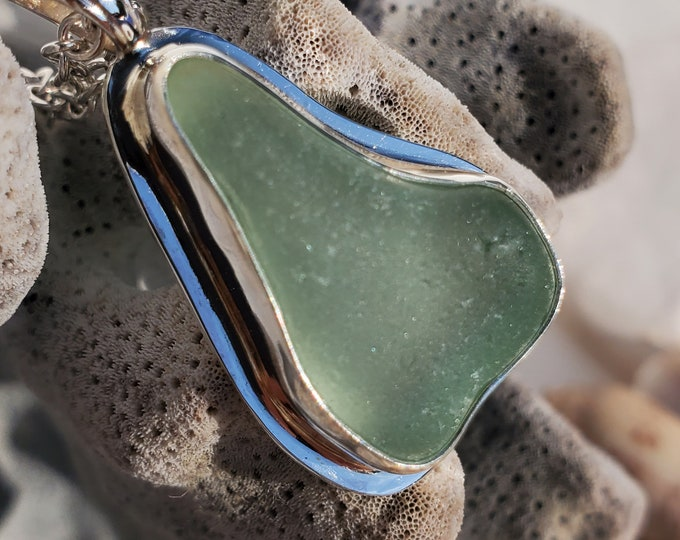 Sea foam sea glass glass, pear shaped pendant, bezel set, handcrafted using sea glass from the beaches of Provincetown MA