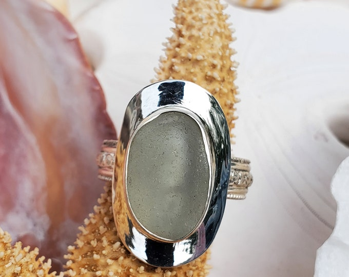 Sea foam sea glass ring, handcrafted, bezel set, any size, any band style at no extra cost, using sea glass found on the beaches of ptown MA
