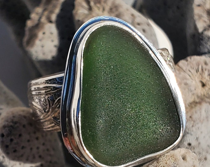 Forest green sea glass ring, handmade, bezel set in fine silver, any ring size and band style at no extra charge, glass is from ptown MA
