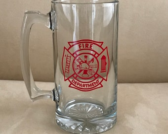 Fire Department Beer Mug- Personalize with Retirement added, your Last Run and Last Box#