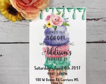 The Scoop Birthday Invitation