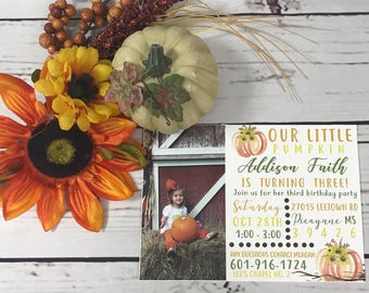 Little Pumpkins Birthday Invitations