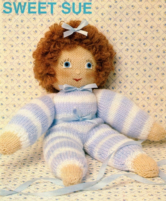 Vintage Knitted Doll Pattern Etsy