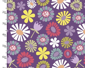 Purple Floral Fabric, Mod Flower Quilt Fabric, 3 Wishes Fabric Pippit Moesby 12305, Mosbey, Mod Floral Quilt Fabric, Coral, Yellow, Cotton