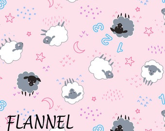 Pink Sheep Flannel Fabric, Baby Girl Flannel Fabric, Camelot 21179916B-2, Counting Sheep Flannel Quilt Fabric, Cotton Flannel Yardage