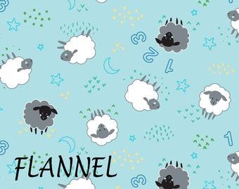 Blue Sheep Flannel Fabric, Baby Boy Flannel Fabric, Camelot 21179916B-3, Counting Sheep Flannel Quilt Fabric, Cotton Flannel Yardage