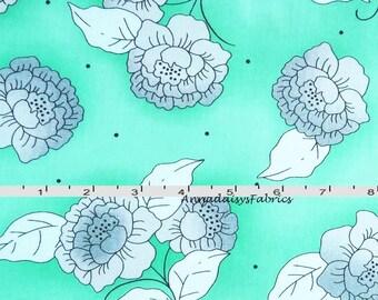 Aqua Mint Floral Fabric, Studio 8 for Quilting Treasures Cozumel 23096Q, Aqua Mint and Gray Floral Quilt Fabric, Cotton Yardage