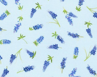 Texas Bluebonnets Fabric, Blue Floral Fabric, Robert Kaufman 20173-4, Mary Lake Thompson, Bluebonnets Quilt Fabric by the Yard, 100% Cotton