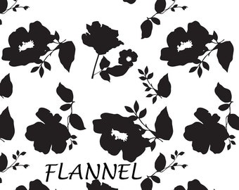 Black & White Floral Flannel Fabric, Black and White Flannel, Camelot Fabrics 4150004B 02 Simply Fashionista, Jackie McFee, Cotton Flannel
