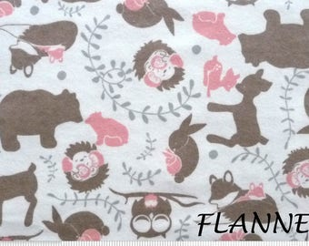 Mother & Baby Woodland Animal Flannel Fabric, Camelot Forest Toile 2150042B, Brown, Peach, Gray Flannel Fabric, Deer, Fox, Bear, Owl, Cotton