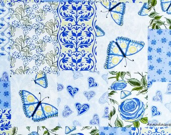 Purple and Blue Butterfly, Kangaroo & Floral Cheater Fabric, In The Beginning 1WSD2 Roo, Wendy Slotboom, Floral Cheater Quilt Fabric, Cotton