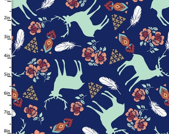 Southwest Floral, Feathers, & Deer Fabric, Southwestern Aztec Quilt Fabric, 3 Wishes Pachua 12933 Navy, Mint, Coral, Turquoise, Cotton