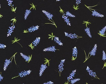 Texas Bluebonnets Fabric, Blue Floral Fabric, Robert Kaufman 20173-2, Mary Lake Thompson, Bluebonnets Quilt Fabric by the Yard, 100% Cotton
