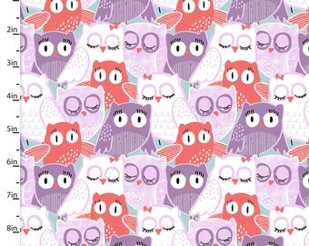 Coral & Purple Owl Fabric, Owl Quilt Fabric, 3 Wishes Fabric Pippit Moesby 12309, Mosbey Packed Owls, Owl Baby Quilt Fabric, Cotton