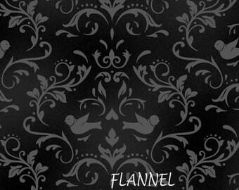 Gray & Black Flannel, Damask Birds Quilt Flannel, Maywood Beautiful Basics MASF8365 J,Welcome Home, Jennifer Bosworth Cotton Flannel Yardage