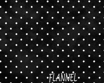 Black & White Dot Flannel, Black Polka Dot Quilt Flannel, Maywood Beautiful Basics MASF609 JJ, Cotton Flannel Yardage