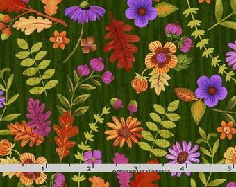 Green and Purple Floral Fabric, Enchanted Forest Studio E 3834 66 Jennifer Brinley, Gold & Purple Flower Quilt Fabric, Cotton