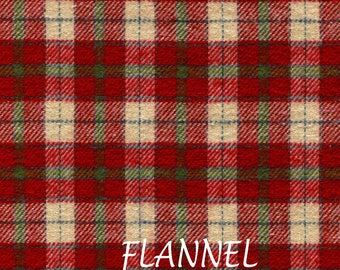 Red, & Cream Plaid Flannel Fabric, Plaid Shirting Flannel, A E Nathan Yarn Dyed Flannel 88672, Light Wt. Cotton Flannel Yardage