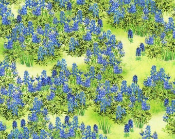 Texas Bluebonnets Fabric, Blue Floral Fabric, Robert Kaufman 20172 Mary Lake Thompson, Bluebonnets Quilt Fabric by the Yard, 100% Cotton