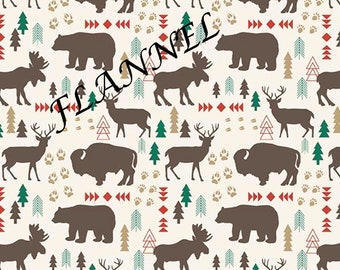 Tepee Red High Adventure 2 by Design by Dani for Riley Blake Designs  deer moose bears  100/% Cotton Face Mask Fabric