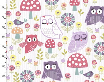 Colorful Owl Fabric, Owl Quilt Fabric, 3 Wishes Fabric Pippit Moesby 12300, Birds, Mushrooms, Flowers, Owl Baby Quilt Fabric, Cotton