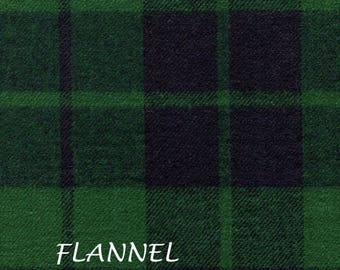 Blue and Green Plaid Flannel Fabric, Forest Green, Navy Blue, Shirting Flannel, A E Nathan Yarn Dyed Flannel 5754, Light Wt. Cotton Flannel