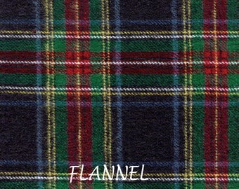 Red, Blue & Green Plaid Flannel Fabric, Plaid Shirting Flannel, A E Nathan Yarn Dyed Flannel 5639, Light Wt. Cotton Flannel Yardage
