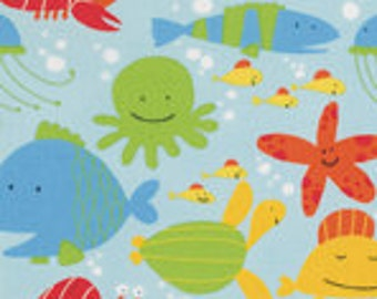 Ocean Baby Fabric, Free Spirit PWDW071 Coast, David Walker, Fish Fabric, Ocean Baby Quilt Fabric, Nautical Fabric, Sea LIfe, Cotton