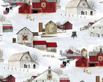 Red Barn in Winter w//Holly Berries Panel-Timeless Treasures-Cardinals-Snow-Fence