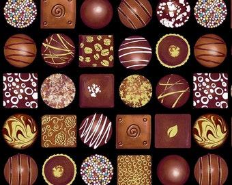 Box of Chocolates Fabric, Chocolate Candy Fabric, Benartex Kanvas Studio Chocolicious 9846-12, Food Quilt Fabric by the Yard, 100% Cotton
