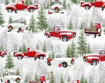 Small Retro Trucks Christmas Fabric, Old Red Truck Fabric, Henry Glass Tradition Continues II 9728, Truck Quilt Fabric by the Yard, Cotton