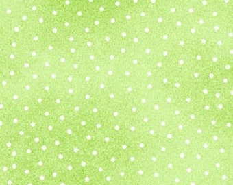Lime Green Pin Dot Flannel, Green & White Dot Flannel, A E Nathan Comfy Prints 9527 66, Green Dot Flannel Fabric, Cotton Flannel Yardage