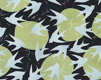 Sale - Birds and Moon Fabric, Robert Kaufman, Marks 16353 305 Graphite, Valori Wells, Black, Soft Green, & Gray Quilt Fabric, Cotton