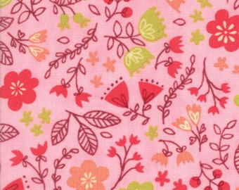 Pink Floral Baby Fabric, Moda Just Another Walk in the Woods, 20524 12 Stacy Iest Hsu, Childrens Quilt Fabric, Flowers, Cotton