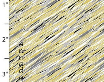 Gray, Black, Yellow Abstract Fabric, Diagonal Sketch Quilt Fabric, Quilters Palette Marbella Collection 12636 Gray, Abstract Cotton Yardage