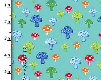 Colorful Mushroom Fabric, Quilters Palette Color Me Fun 12720 Turquoise, Baby & Children's Quilt Fabric, Cotton