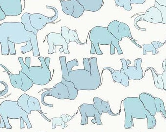 Blue and Aqua Elephant Fabric, Lewis & Irene Fabric, Welcome To The World A216 1,  Elephants Quilt Fabric, Baby Boy Fabric, Cotton Yardage