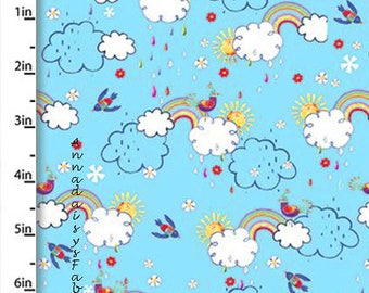 Clouds & Rainbows Fabric, Whimsical Quilt Fabric, Quilters Palette Color Me Fun 12723 Blue, Rainbows, Birds and Clouds Fabric, Cotton