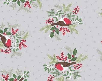 Robin Fabric, Bird Quilt Fabric, Lewis & Irene Fabric, Countryside Winter C19 1, Winter Bird Fabric, Christmas Fabric, Cotton