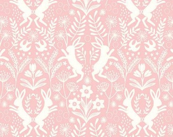 Pink & White Rabbit Fabric, Lewis and Irene Salisbury Spring A64 5 Hares, Pink Bunny Quilt Fabric, Damask Spring and Easter Fabric, Cotton