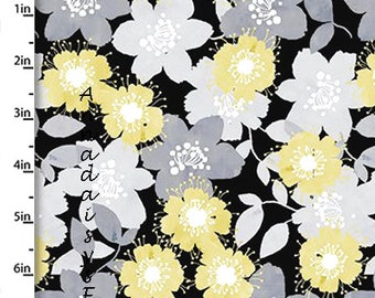 Yellow, Gray & Black Floral Fabric, Floral Quilt Fabric, Quilters Palette Marbella Collection 12634 Black, Flower Fabric, Cotton Yardage