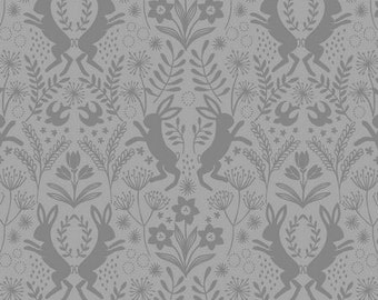 Gray Rabbit Fabric, Lewis and Irene Salisbury Spring A64 6 Hares, Tone on Tone Grey Bunny Quilt Fabric, Spring Fabric, Easter Fabric, Cotton