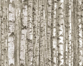 Birch Tree Fabric, Elizabeth Studio 371 Taupe, Gray & Brown, Landscape Medley, Tree Trunk Fabric, Woodland Quilt Fabric, Bark Fabric, Cotton