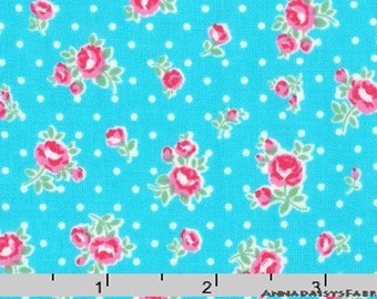 Turquoise & Pink Small Roses Fabric, Floral Quilt Fabric, Lecien Flower Sugar Paisley 31426 77, Shabby Floral Fabric, Cotton