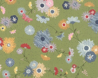 Green Floral Fabric, Moda Mon Ami 30411 16 Jardin, Basic Grey, Flower Quilt Fabric, Cotton