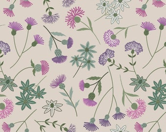 Purple Floral Fabric, Thistle Quilt Fabric, Lewis & Irene Fabric A239 1, Celtic Blessings, Purple Flowers Fabric, Thistle Fabric, Cotton