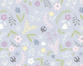 Dusky Lavender Floral Fabric, Lewis and Irene Fabric, Salisbury Spring A207 2, Birds and Flowers Quilt Fabric, Spring & Easter, Cotton