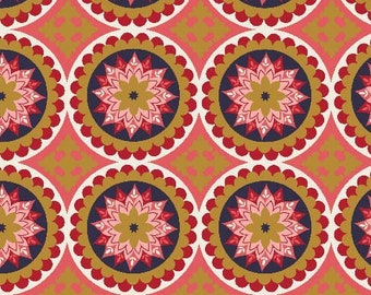 La Vie Boheme Riley Blake Fabric SC4742 Red Medallion Fabric, Gypsy Fabric, Bohemian Fabric, Metallic Gold, Boho Cotton Fabric