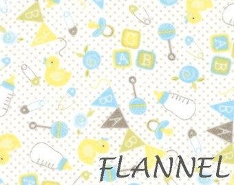 Blue & Yellow Baby Quilt Flannel Fabric, Moda Sweet Baby Flannel, 35280 22F Sky Cloud, Abi Hall, Baby Things Cotton Flannel Yardage