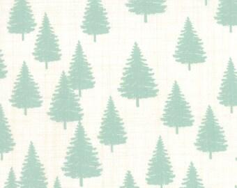 Mint Green Winter Trees Fabric, Moda Winterberry 13143 12 Snow Mint, Kate & Birdie Paper Co, Chriatmas Woodland Quilt Fabric, Cotton